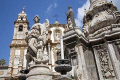 Palermo  - Saint Dominic church and baroque column Stock Image