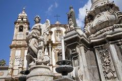Palermo  - Saint Dominic church and baroque column Stock Image