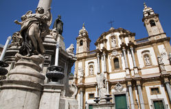 Palermo - Saint Dominic church and baroque column Royalty Free Stock Photo