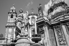 Palermo - Saint Dominic church and baroque column Royalty Free Stock Image