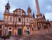 Palermo - San Domenico - Saint Dominic church and baroque column Stock Photos