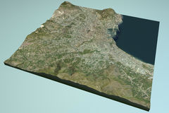 Palermo, satellietmening, kaart, Sicilië, Italië Royalty-vrije Stock Fotografie