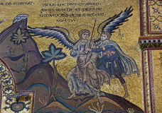 Palermo - Scene of Jacob Wrestles an Angel in Monreale cathedral. Stock Photos