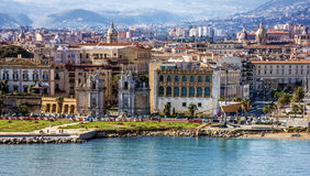 Palermo Seaside In Sicily, Italy. Seafront View. Royalty Free Stock Photo