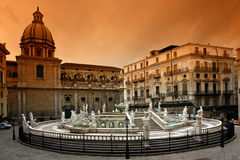 Palermo sicily. The sicilian baroque palermo place in sicily royalty free stock image