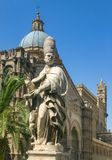 Palermo, Sicily / Italy: June 25, 2005: Vertical shot of Palermo Cathedral royalty free stock photos