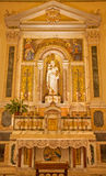 Palermo - Side altar and statue of st. Joseph with child from church Convento Dei Carmelitani Scalzi Stock Image