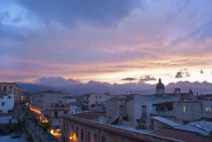 Palermo sikt på solnedgången. Sicily Royaltyfri Fotografi