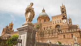 Palermo - South portal of Cathedral or Duomo stock photo