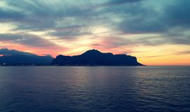 Palermo sunset. Sicyly royalty free stock photo