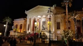 Palermo theater side view. Photo of Massimo Theater, Palermo, Sicily, Italy. Night. Cold. Christmas. Side view Royalty Free Stock Photos