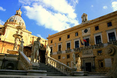 Palermo town hall in Pretoria square, Italy stock photos