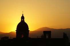 Palermo view at sunset. With cathedral dome Royalty Free Stock Images