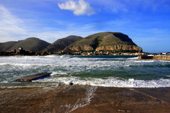 Palermo, vista sul mare di Mondello. L'Italia Fotografie Stock Libere da Diritti