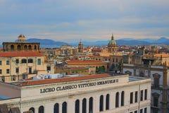PALERMO, WŁOCHY †'03 2017 Styczeń: Magiczny widok z wierzchu Palermo katedry w starych domach Zdjęcie Stock