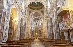 Palermo - wnętrze kościelny losu angeles chiesa Del Gesu Obraz Royalty Free