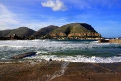 Palermo, zeegezicht Mondello. Italië Royalty-vrije Stock Foto's
