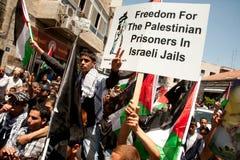 Palestijnen maart om vrijheid voor gevangenen te eisen Stock Foto's