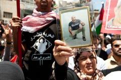 Palestijnen maart om vrijheid voor gevangenen te eisen Stock Fotografie