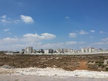 Palestijns kapitaal, Ramallah, die achter omheining wordt gesloten Stock Foto