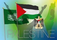 Palestina & hamasvlag, kaart en wapenschild Stock Afbeelding