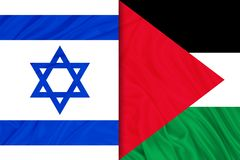 Palestina och Israel flaggor royaltyfri fotografi