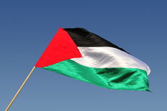 Palestinain Flag Waves in the Wind Stock Photo