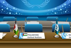 Palestine candidate for the seat on united nation. With blue background Stock Photos