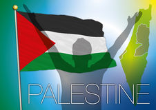 Palestine flag and map. Original  elaboration palestine map and flag Stock Image