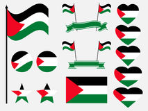 Palestine flag set. Collection of symbols, flag in heart. Vector Stock Images