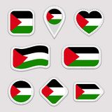 Palestine flag stickers set. Simple symbols badges. Isolated geometric icons. Vector Palestinian flags collection royalty free illustration