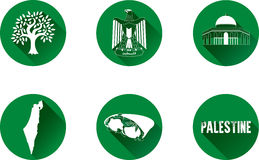 Palestine Flat IconSet. Set of vector graphic flat icons representing Palestine Stock Photography
