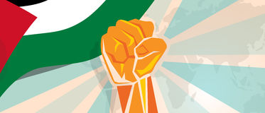 Palestine independence poster fight and protest independence struggle rebellion show symbolic strength with hand fist. Qatar propaganda poster fight and protest Royalty Free Stock Photos