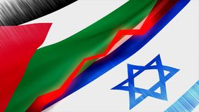 Palestine Israel conflict concept animation. Palestine Israel conflict concept animation, Computer generated stock video