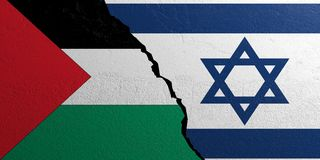 Palestine and Israel flag, plastered wall background. 3d illustration. Palestine and Israel relationship. Flags on plastered wall background. 3d illustration Stock Photo