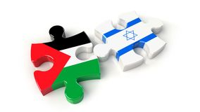 Palestine and Israel flags on puzzle pieces. Political relations Royalty Free Stock Photo