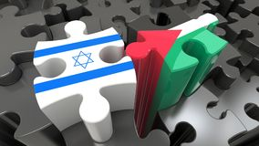 Palestine and Israel flags on puzzle pieces. Political relationship concept. 3D rendering vector illustration
