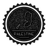 Palestine Map Label with Retro Vintage Styled. Royalty Free Stock Photos