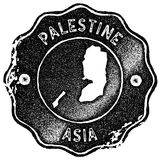 Palestine map vintage stamp. Retro style handmade label, badge or element for travel souvenirs. Black rubber stamp with country map silhouette. Vector Royalty Free Stock Images
