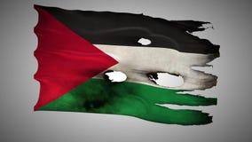 Palestine perforated, burned, grunge waving flag loop alpha stock illustration