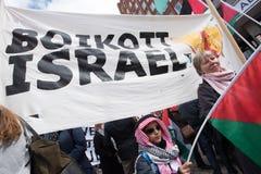 Palestine protest banner: Boycott Israel Stock Image