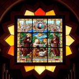 Palestine, stained glass in Church of the Nativity in Bethlehem. One of the oldest continuously operating churches in the world. The first temple over the cave Stock Photo