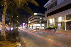 Palestine street in Jeddah at night, with car lights motion Royalty Free Stock Images