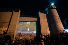 Palestine UN bid celebration at Israeli wall Stock Photos