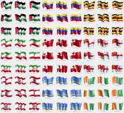 Palestine, Venezuela, Uganda, Iran, Tonga, Sark, French Polynesia, Aruba, Core d'ivoire. Big set of 81 flags. Royalty Free Stock Images