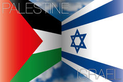 Palestine vs israel flags. Original graphic elaboration, file stock illustration
