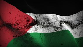 Palestine grunge dirty flag waving on wind. Palestinian background fullscreen grease flag blowing on wind. Realistic filth fabric texture on windy day Royalty Free Stock Photos