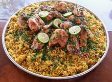 Palestinian chicken and rice dish Stock Photo