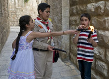 Palestinian children holds candeles Royalty Free Stock Images
