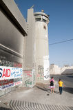 Palestinian Children at Israeli Separation Wall Royalty Free Stock Images